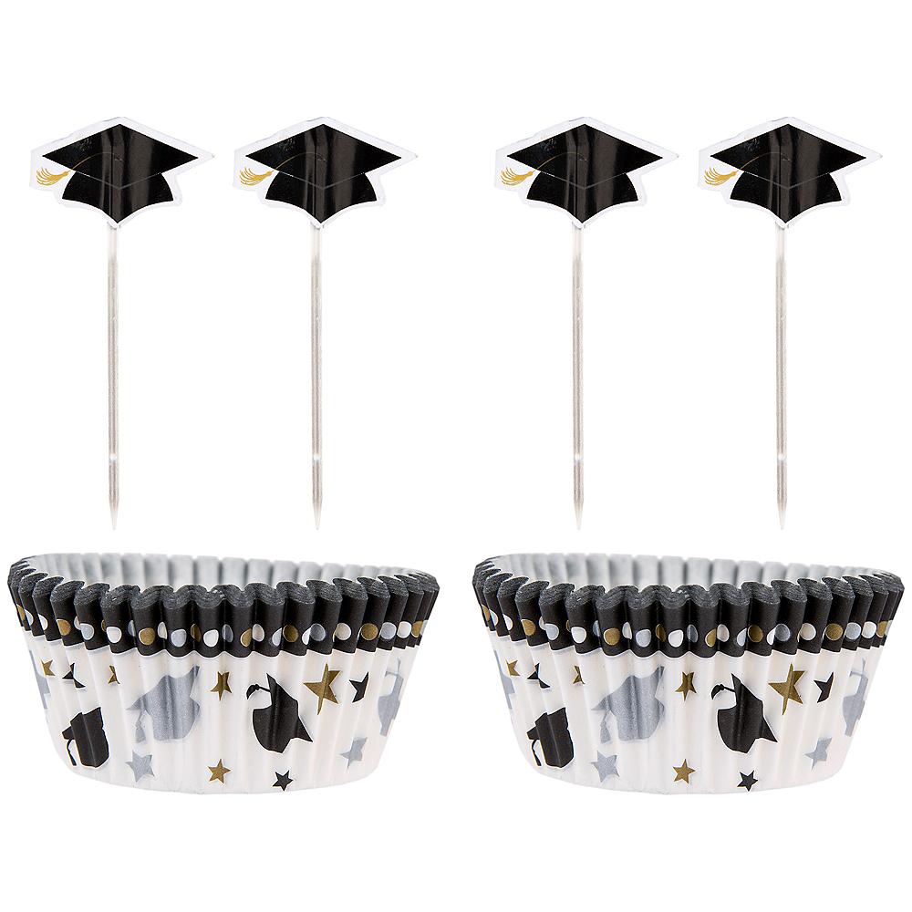 Black, Gold & Silver Graduation Cupcake Decorating Kit For 24 Image #1