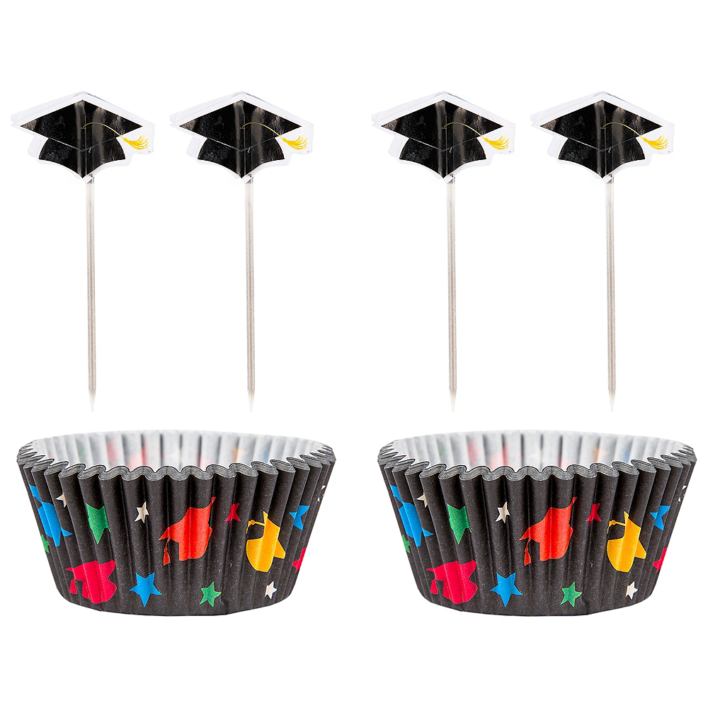 Multicolor Graduation Cupcake Decorating Kit For 24 Image #1