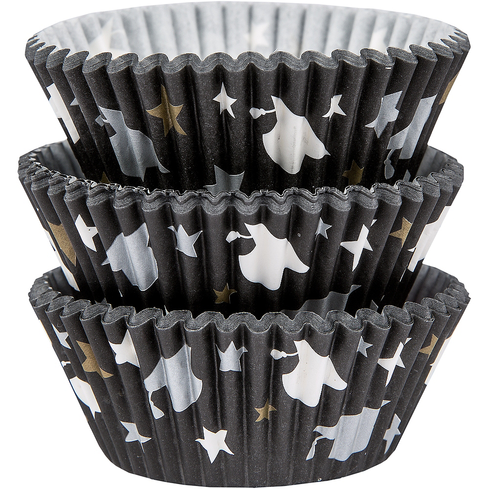 Black, Silver & Gold Baking Cups 75ct Image #1