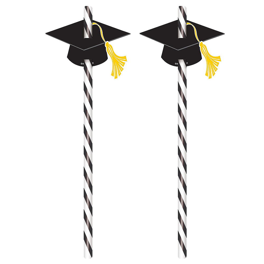 Graduation Cap Straws 12ct Image #1