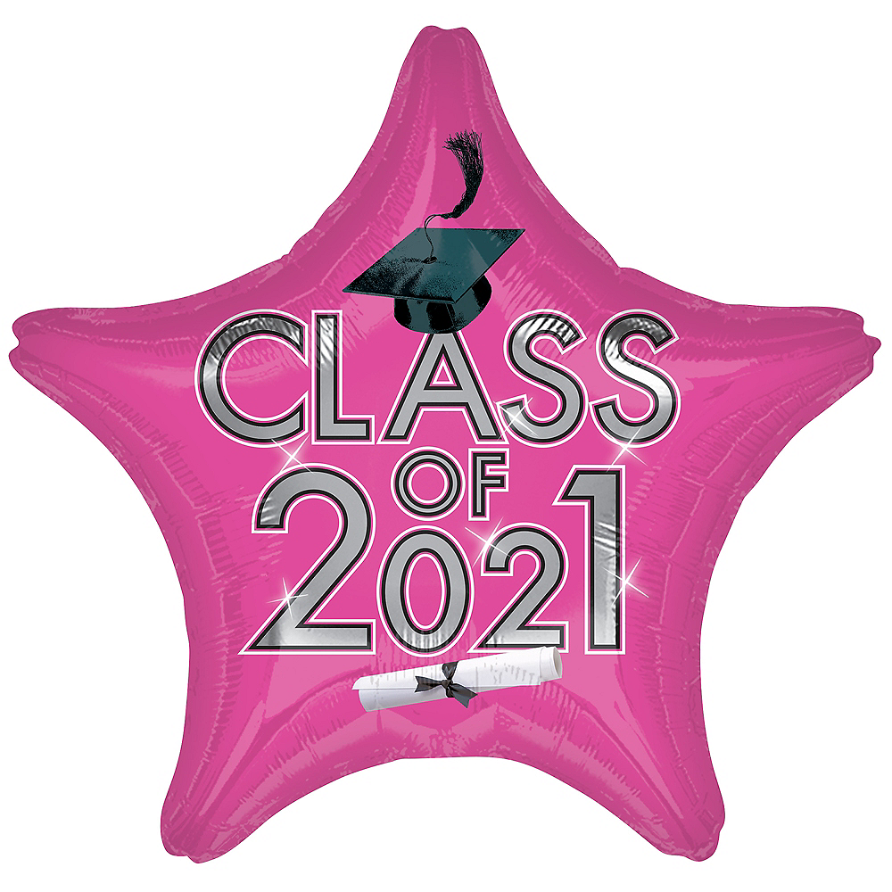 Pink Class of 2021 Graduation Foil Star Balloon, 19in Image #1