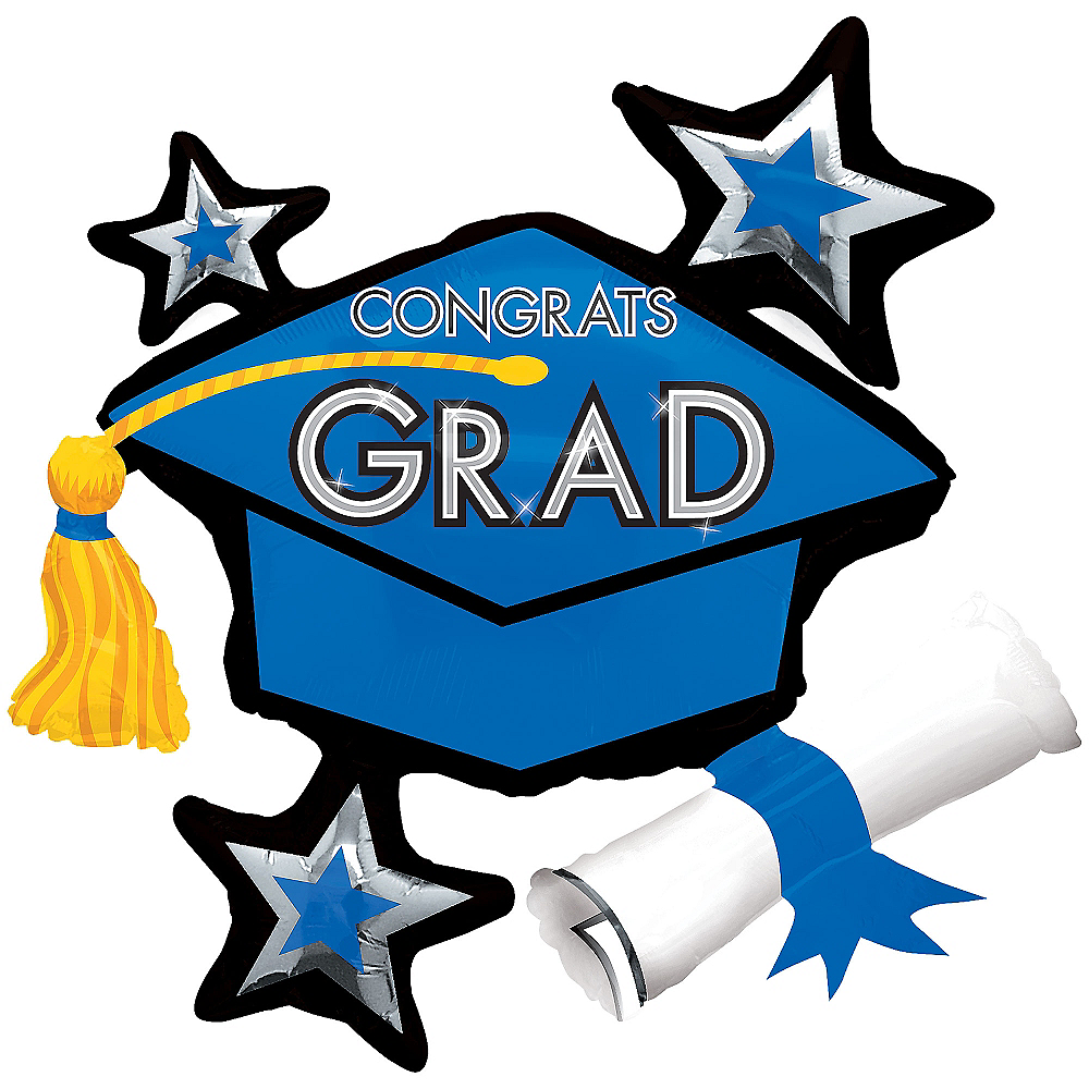 Blue Star Graduation Cap Graduation Balloon Image #1