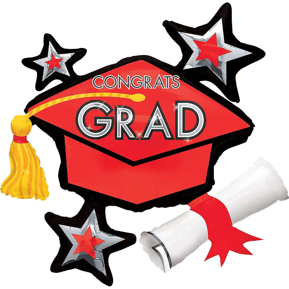 Red Star Graduation Cap Graduation Balloon, 31in Image #1