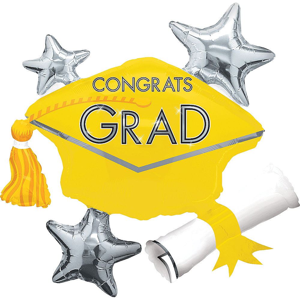 Yellow Star Graduation Cap Graduation Balloon, 31in Image #1
