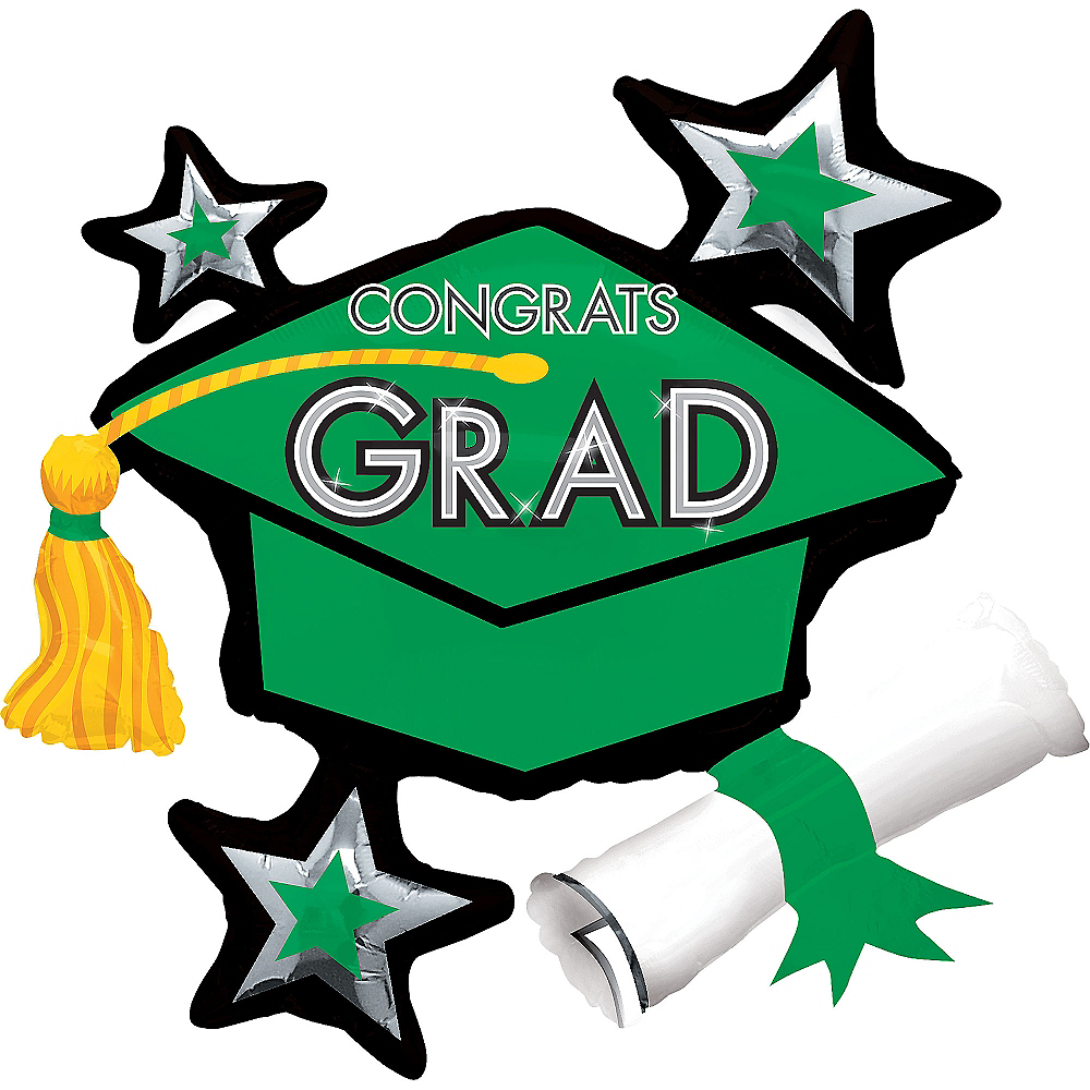 Green Star Graduation Cap Graduation Balloon, 31in Image #1