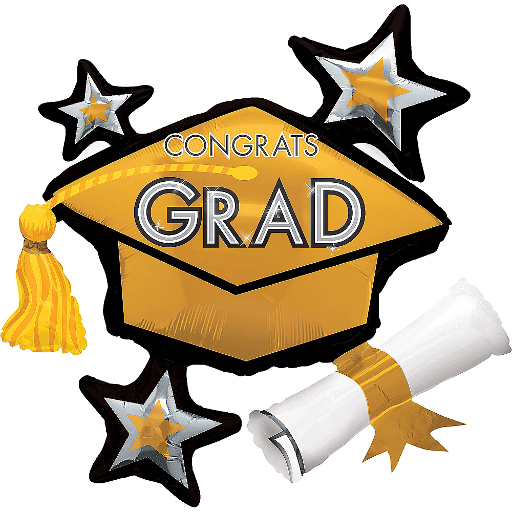 Gold Star Graduation Cap Graduation Balloon, 31in Image #1