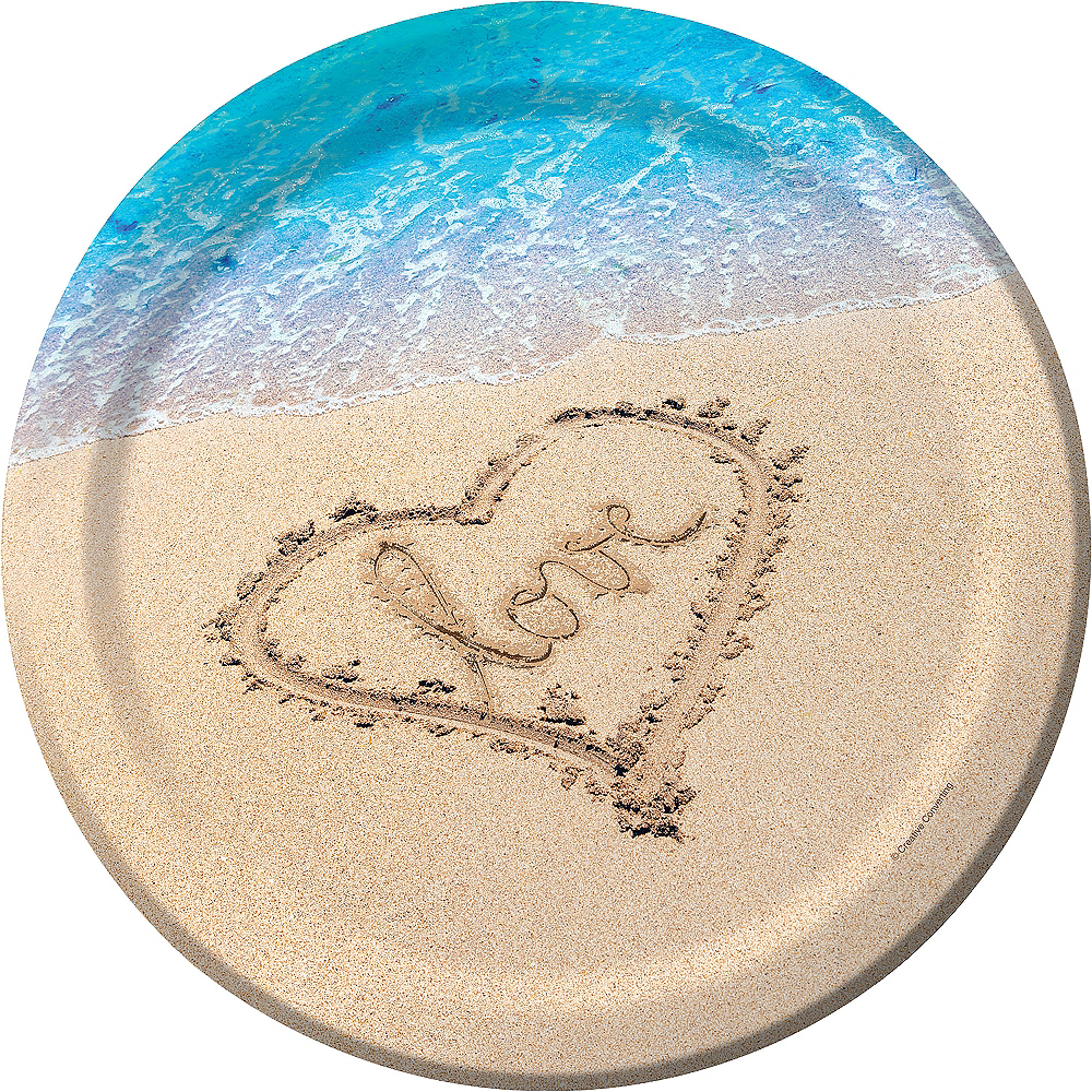 Beach Love Wedding Dinner Plates 8ct Image #1