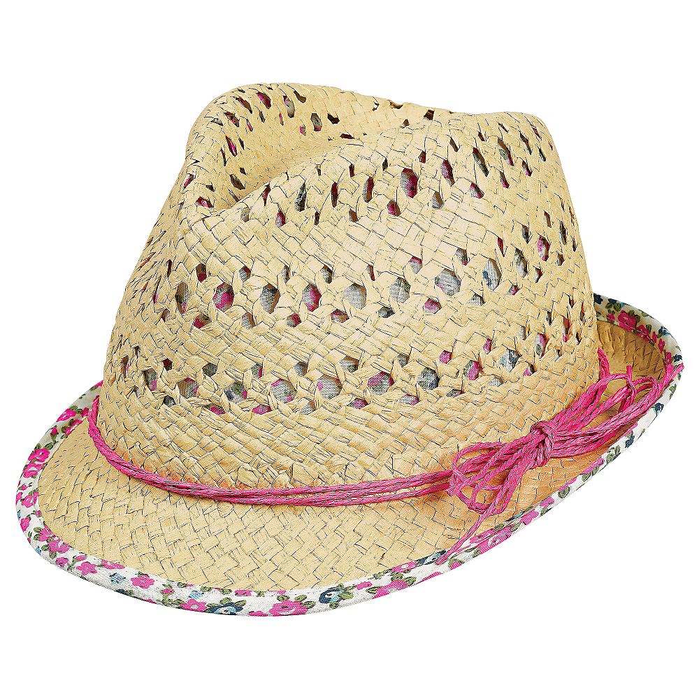 Nav Item for Pink Floral Trim Straw Fedora Image #1