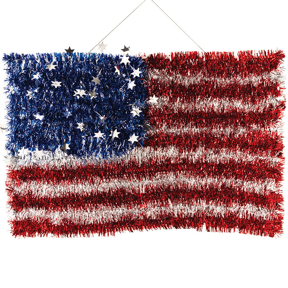 Nav Item for Tinsel American Flag Sign Image #1