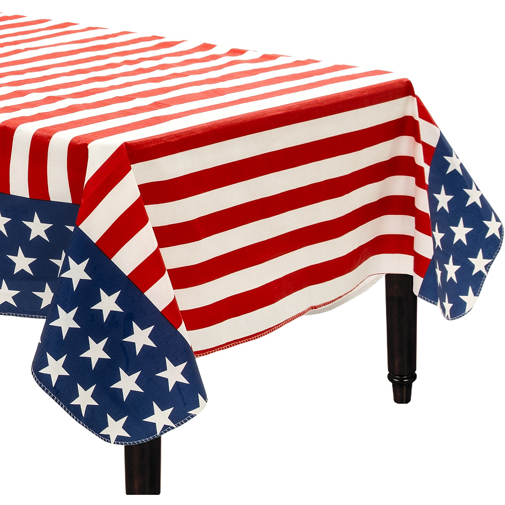 Patriotic American Flag Flannel-Backed Vinyl Tablecloth Image #1