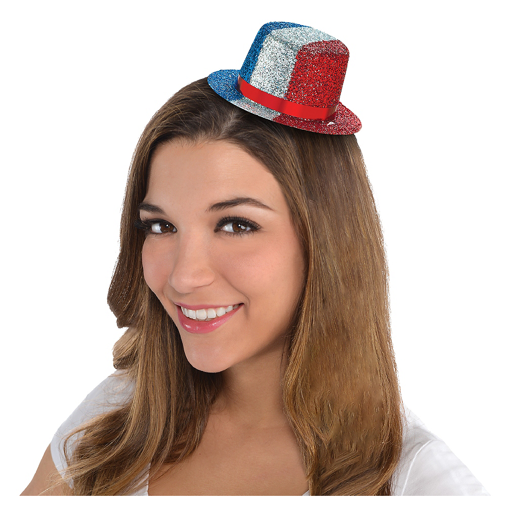 Glitter Patriotic Mini Top Hat Image #1