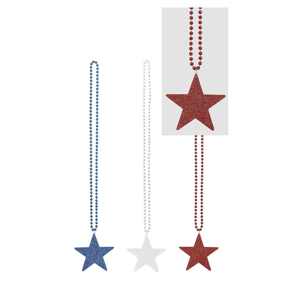 Patriotic Red, White & Blue Star Pendant Bead Necklaces 3ct Image #1