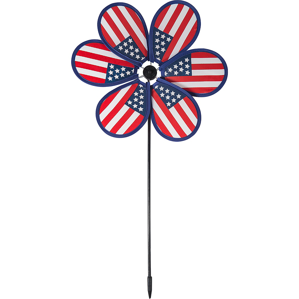 Patriotic American Flag Pinwheel Yard Stake Image #1