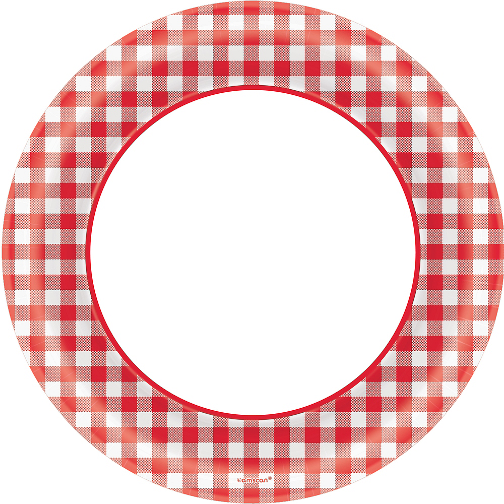 Picnic Party Red Gingham Dinner Plates 40ct Image #1