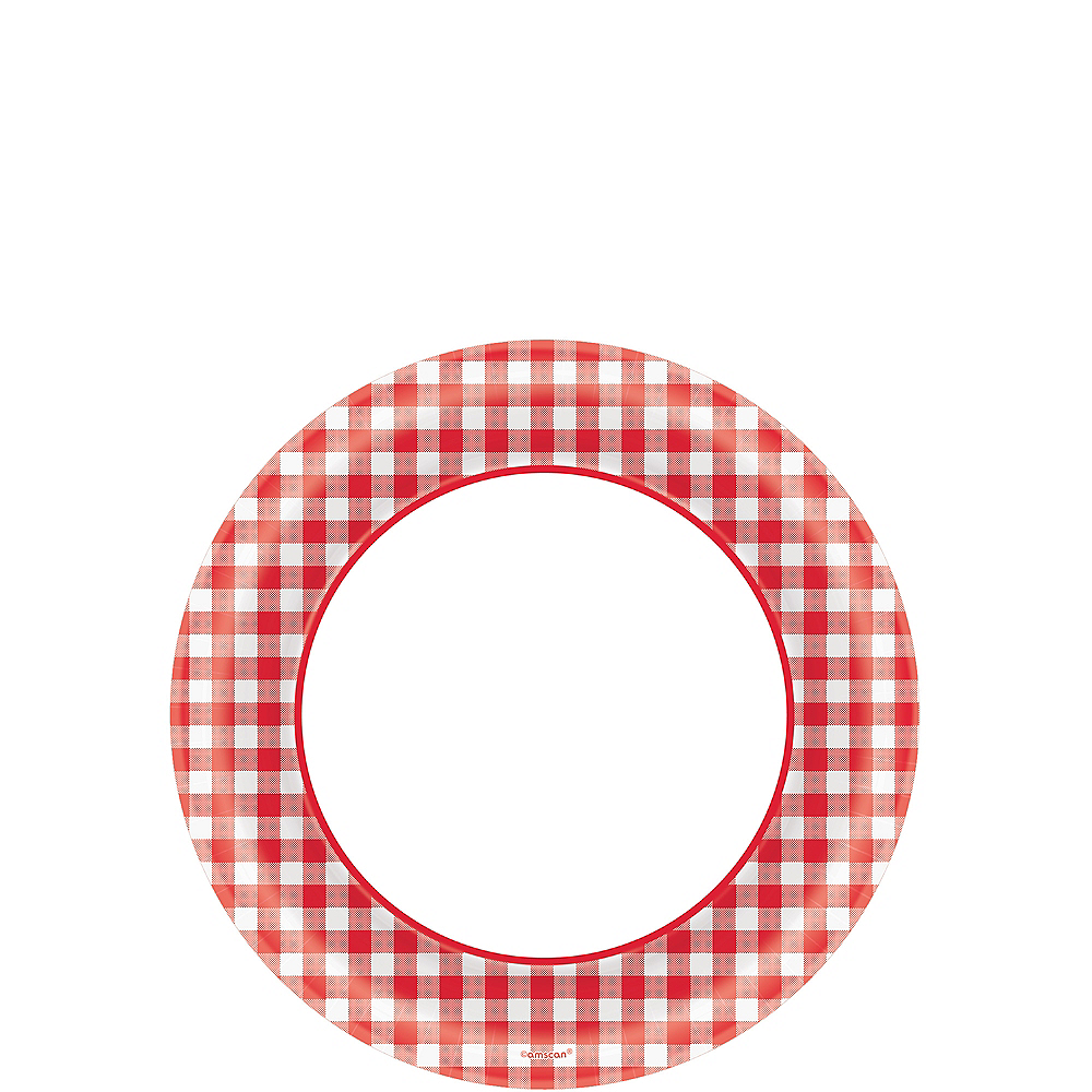 Picnic Party Red Gingham Dessert Plates 40ct Image #1