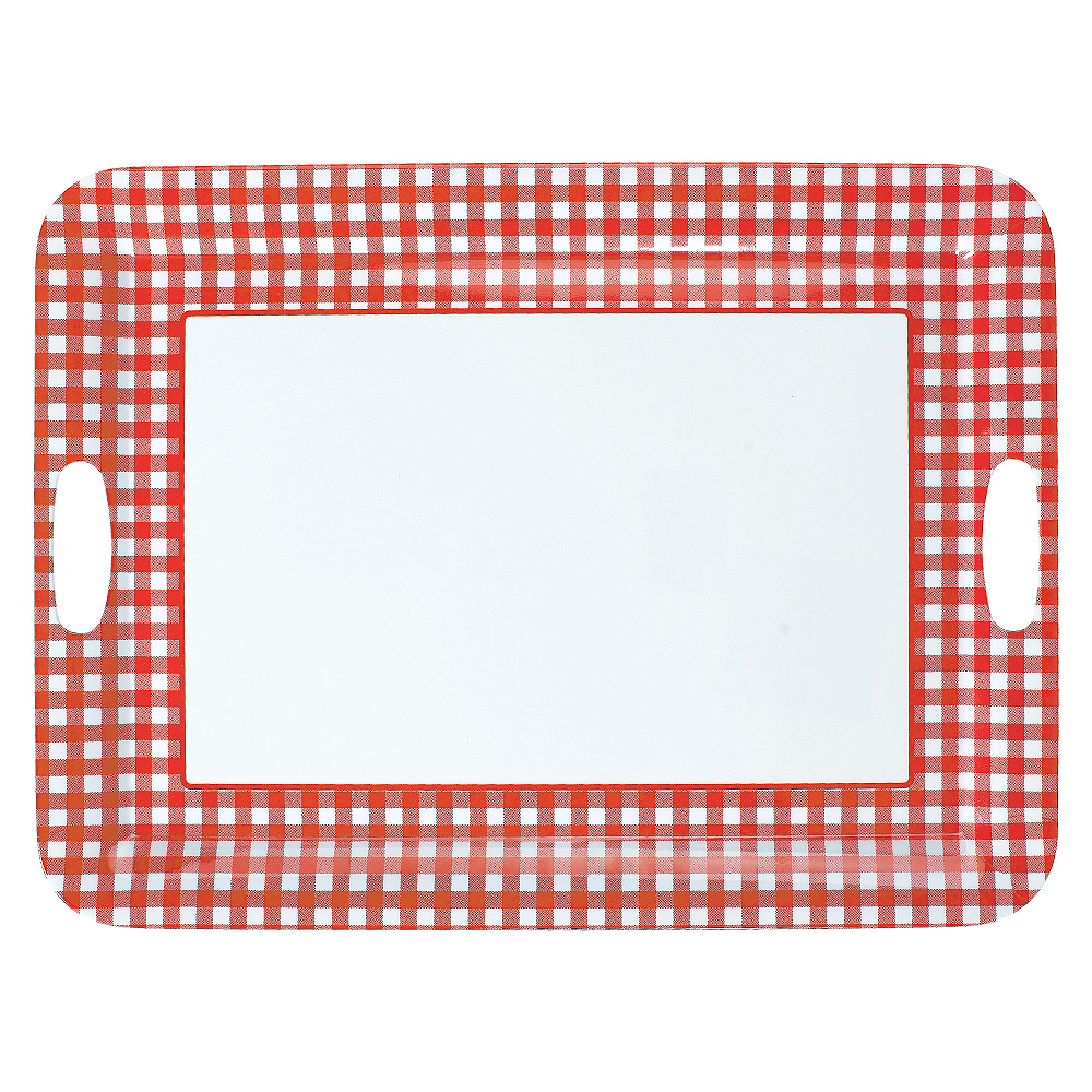 Red Gingham Serving Tray 20in Party City