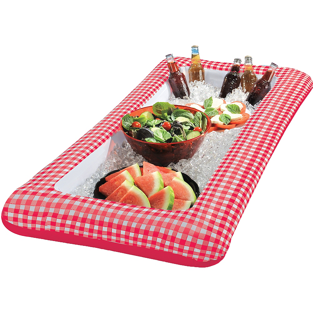 Picnic Party Red Gingham Inflatable Buffet Cooler Ft Party City - Inflatable picnic table