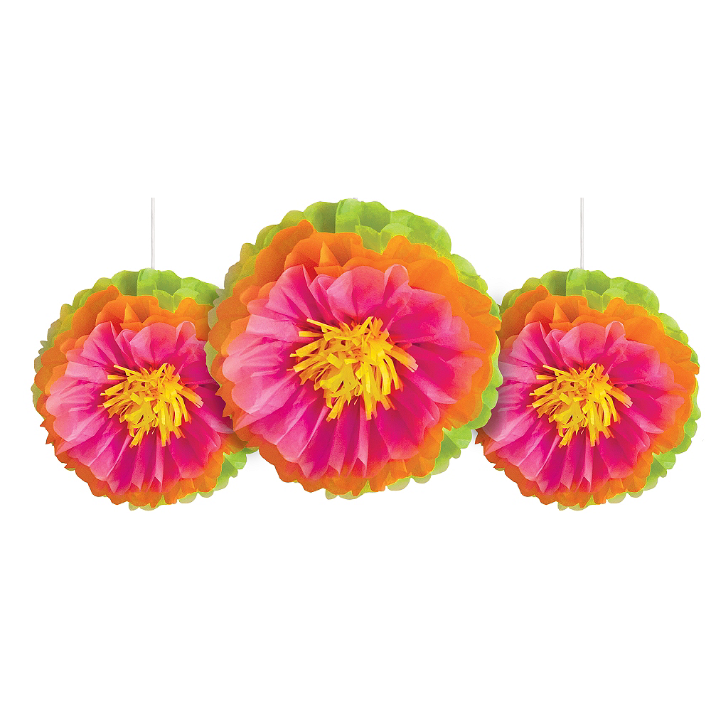 Tropical Flower Tissue Pom Poms 3ct Party City