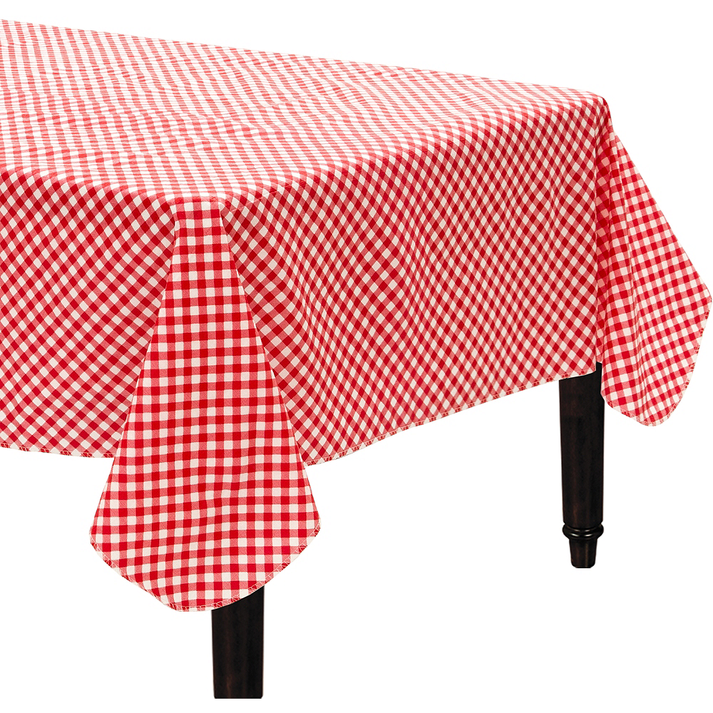 Nav Item for Picnic Red Gingham Flannel-Backed Vinyl Table Cover Image #1