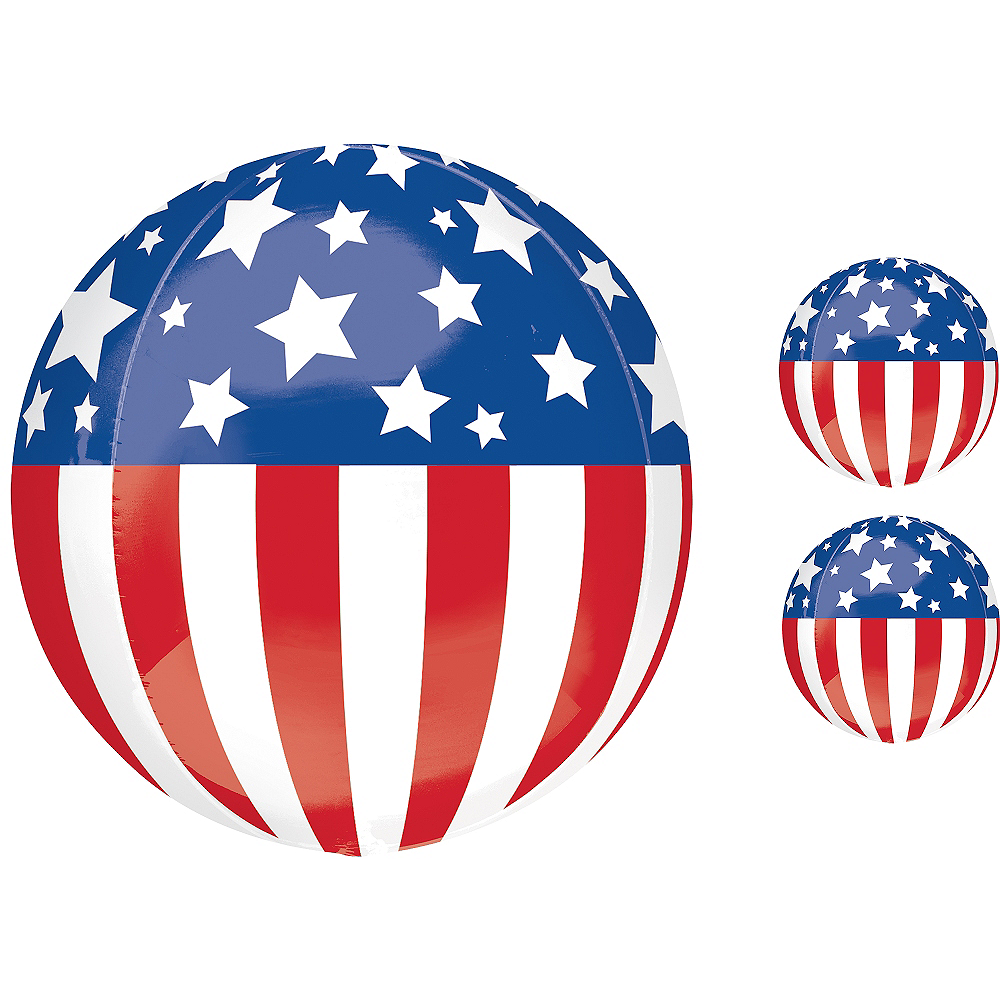 Patriotic Balloon - Orbz, 16in Image #1