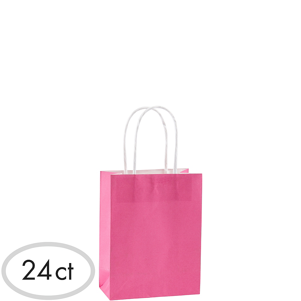 Small Bright Pink Kraft Bags 24ct Image #1