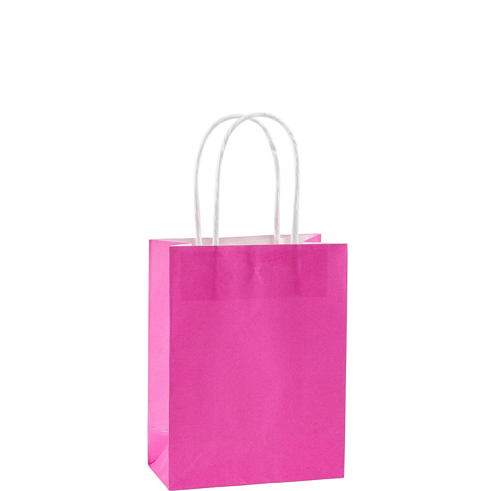 Small Bright Pink Kraft Bags 24ct Image #2