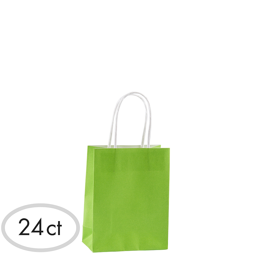 Small Kiwi Green Kraft Bags 24ct Image #1