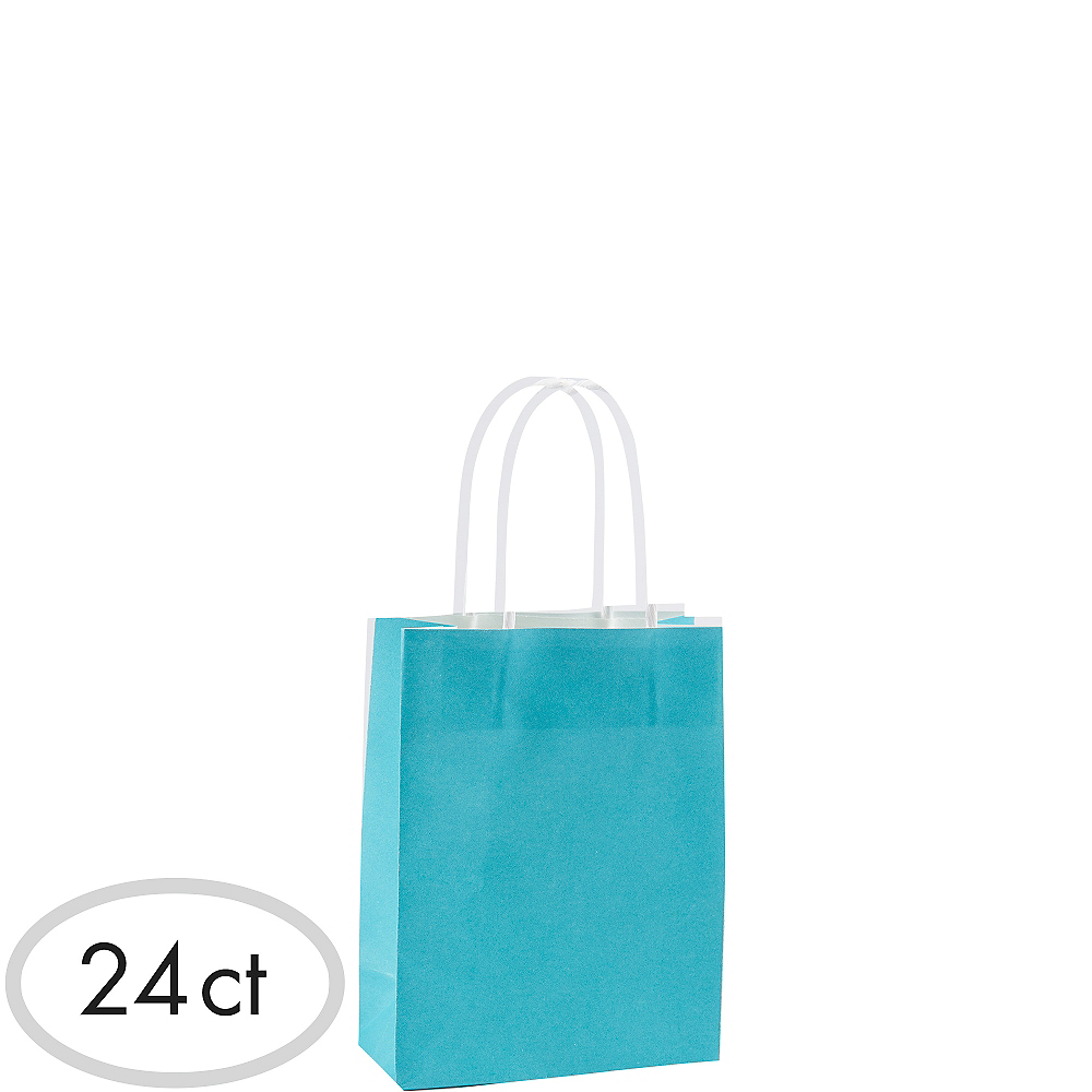 Nav Item For Small Caribbean Blue Kraft Bags 24ct Image 1