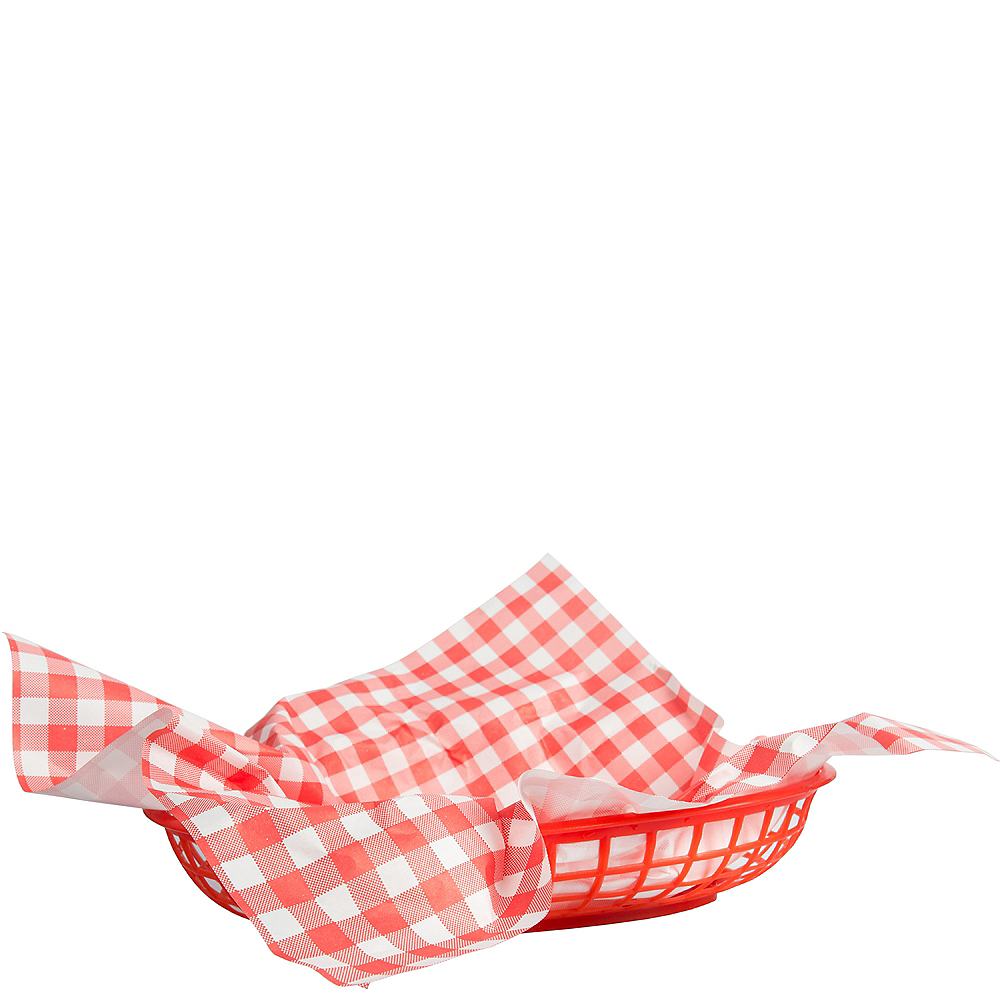 Picnic Party Red Gingham Paper Basket Liners 18ct Image #1