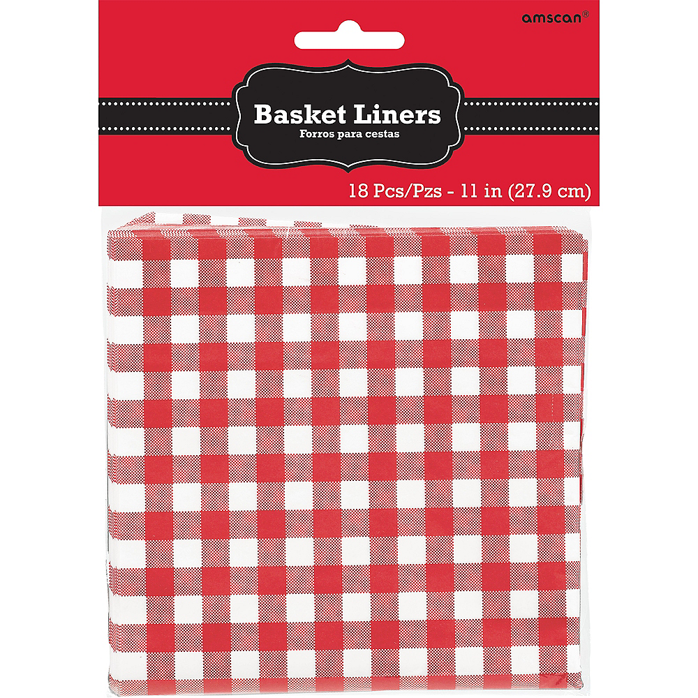 Picnic Party Red Gingham Paper Basket Liners 18ct Image #2