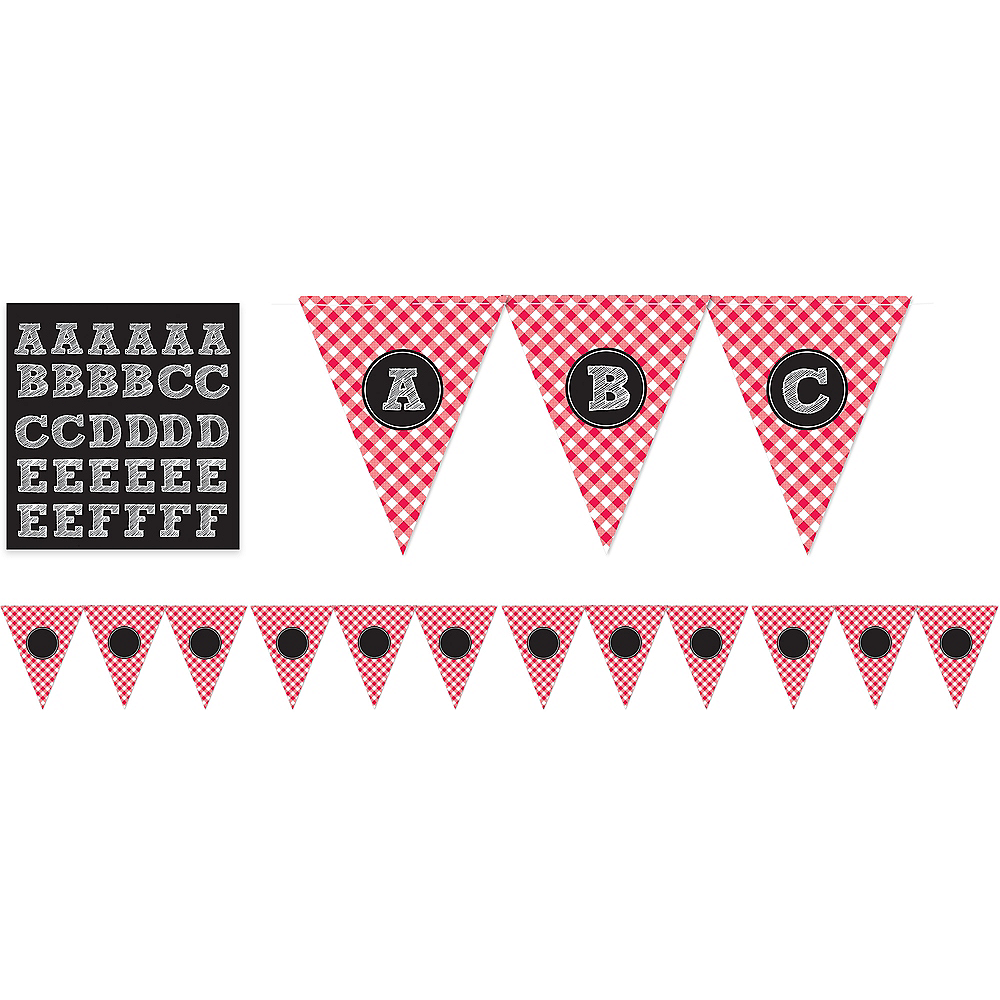 Picnic Party Red Gingham Personalized Pennant Banner Image #1