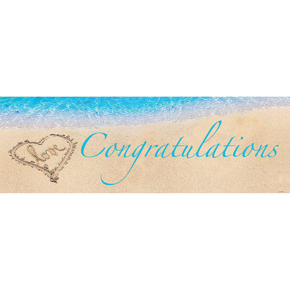 Giant Beach Love Wedding Congratulations Banner Image #1