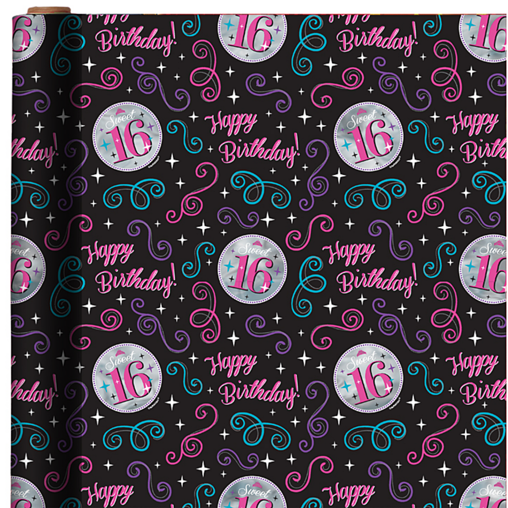 Celebrate Sweet 16 Gift Wrap 5ft   Party City