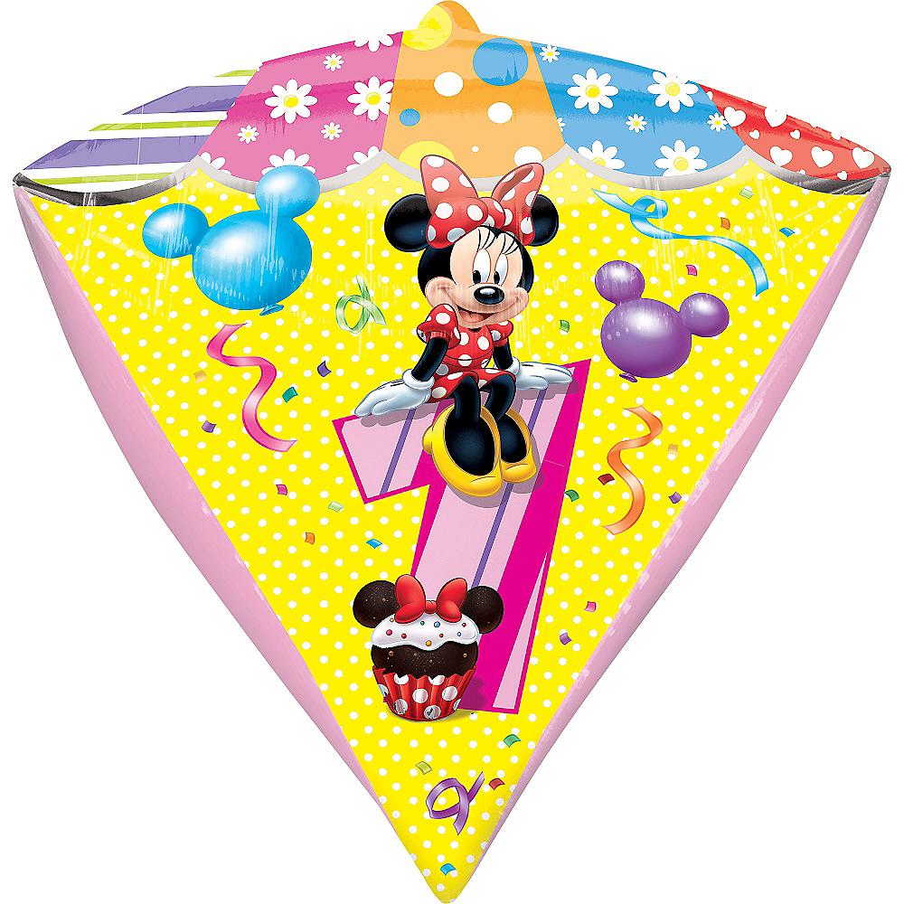 1st Birthday Minnie Mouse Balloon 15in x 17in - Diamondz | Party ...