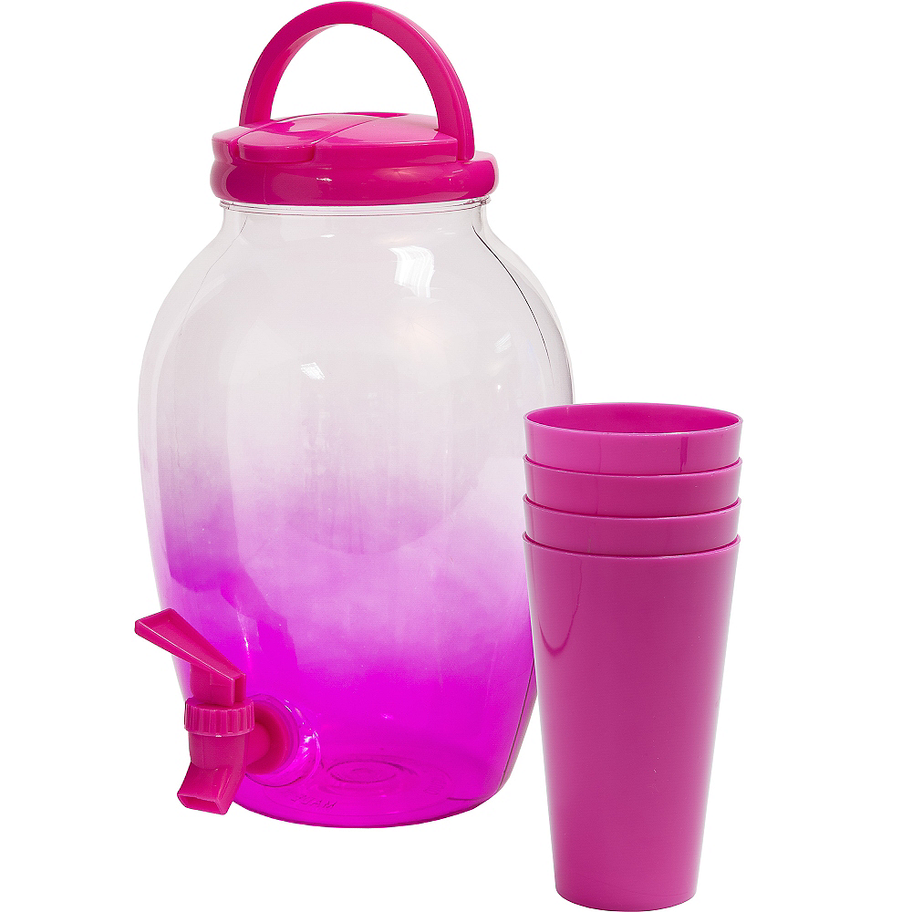 Bright Pink Portable Drink Dispenser with Cups Image #1