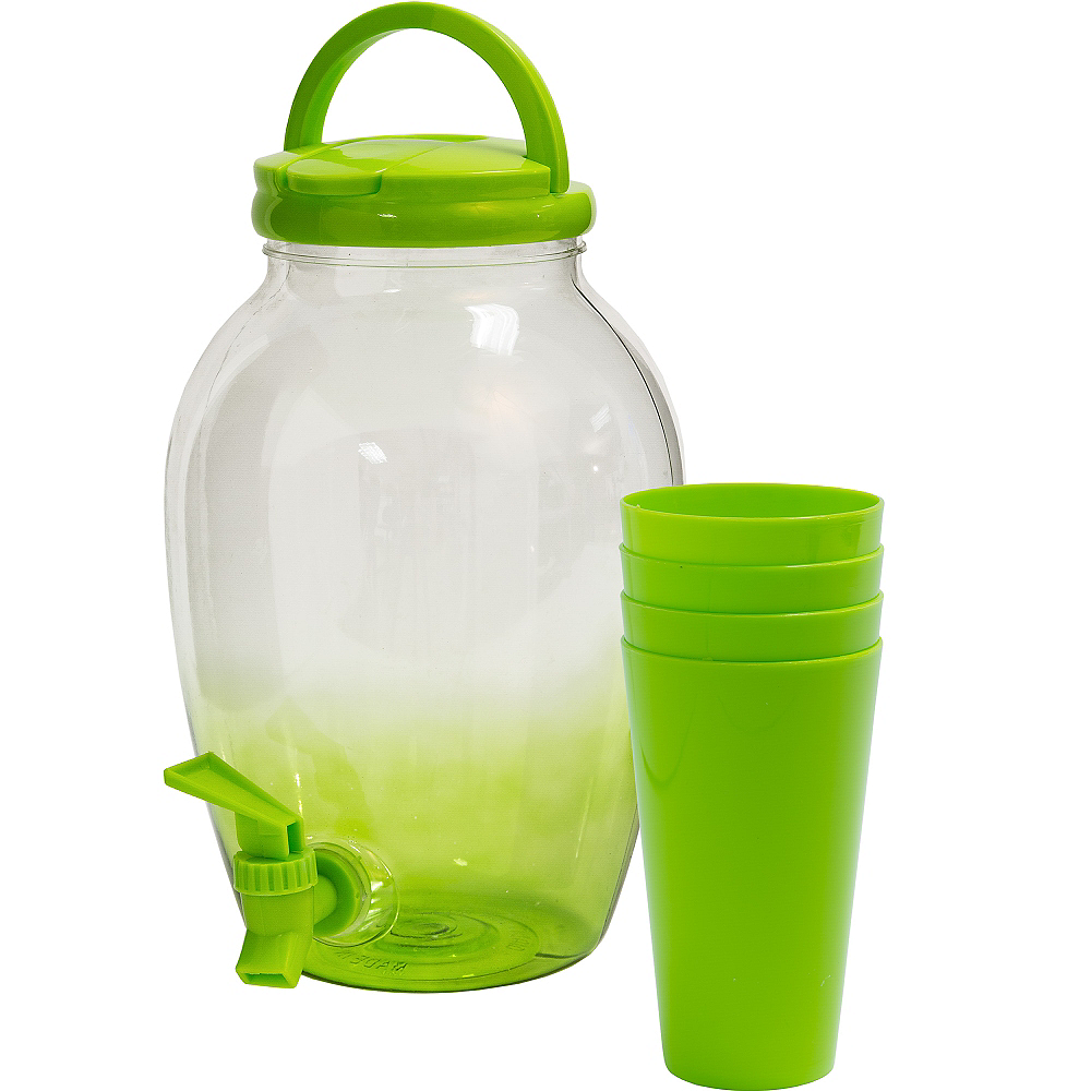 Kiwi Green Portable Drink Dispenser with Cups Image #1