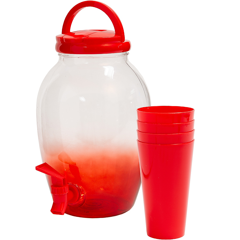 Red Portable Drink Dispenser with Cups Image #1
