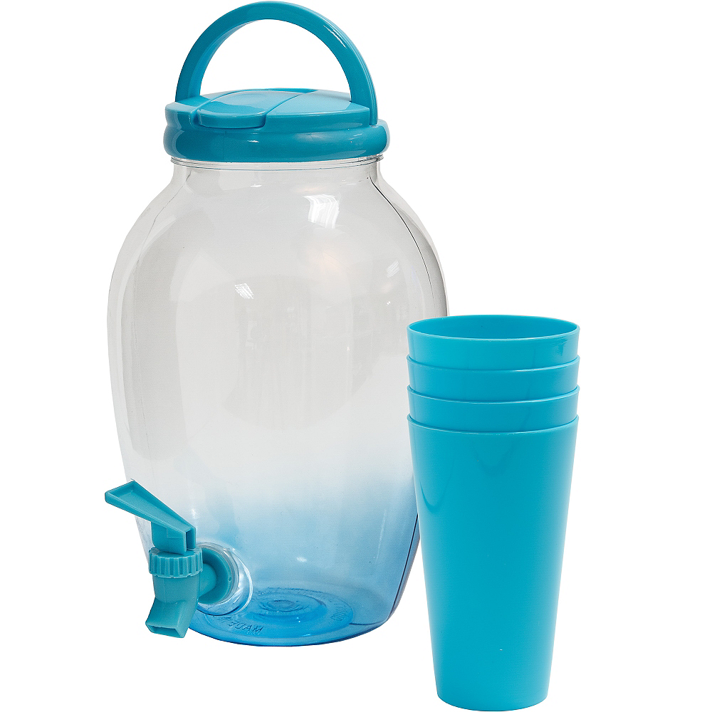 Caribbean Blue Portable Drink Dispenser with Cups Image #1