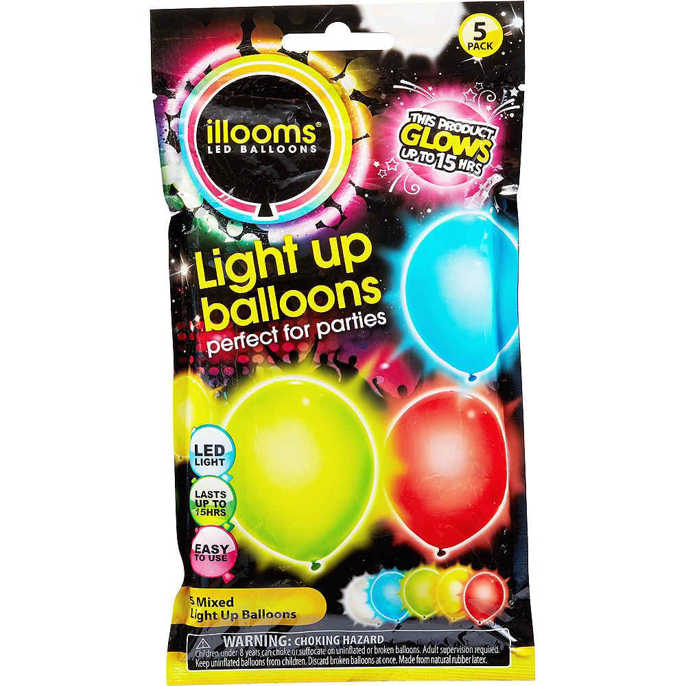 Illooms Light-Up Assorted Color LED Balloons 5ct, 9in Image #2