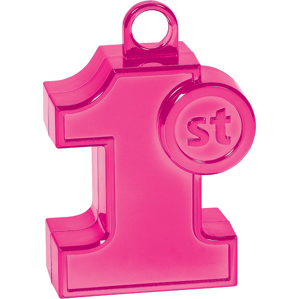 Pink 1st Birthday Balloon Weight Image #1