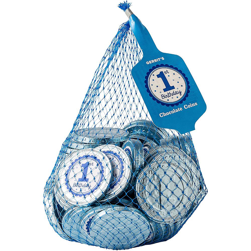 Blue 1st Birthday Chocolate Coins 72pc Image #1