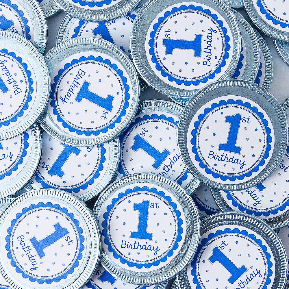 Blue 1st Birthday Chocolate Coins 72pc Image #2