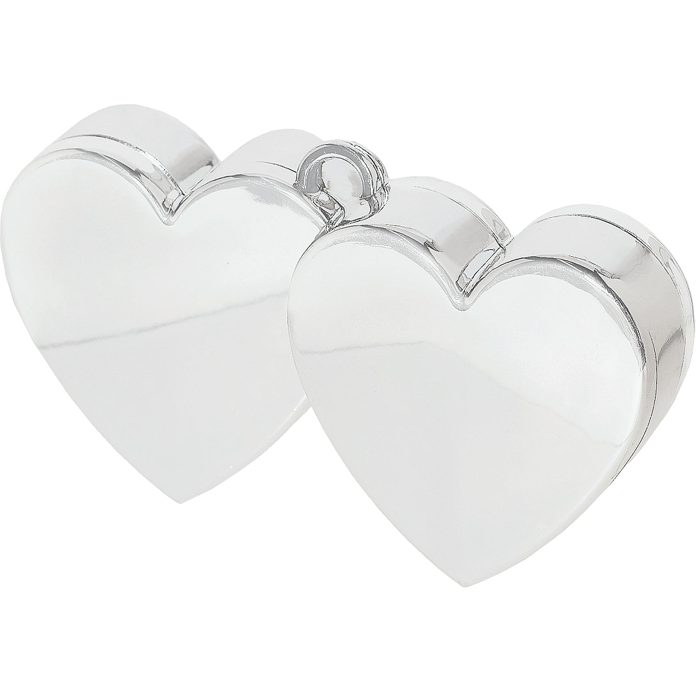 Silver Double Heart Balloon Weight Image #1