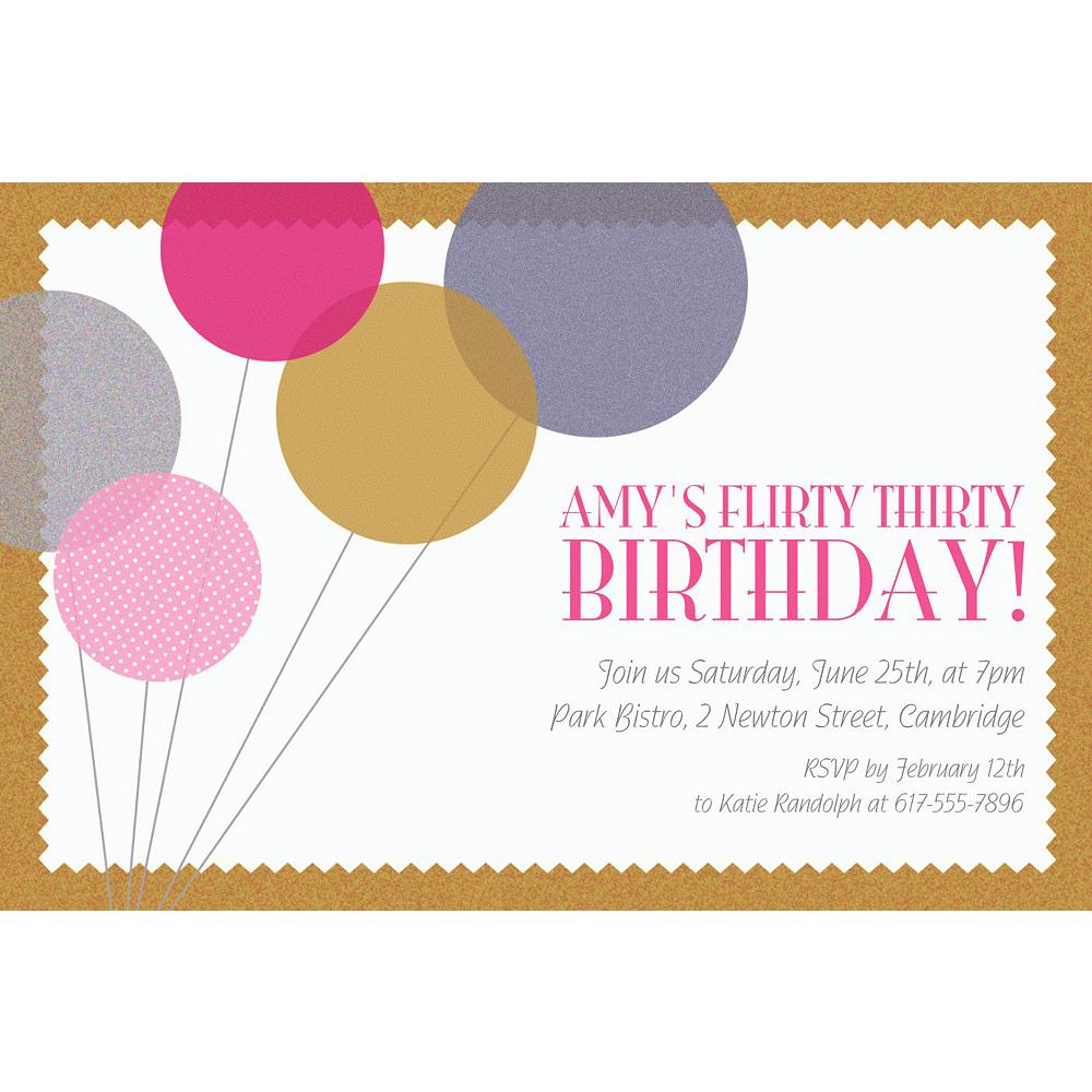 Custom Champagne Balloons Invitations Image #1