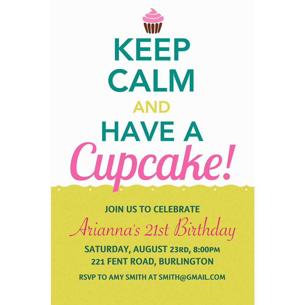 Custom keep calm cupcake invitations party city custom keep calm cupcake invitations filmwisefo