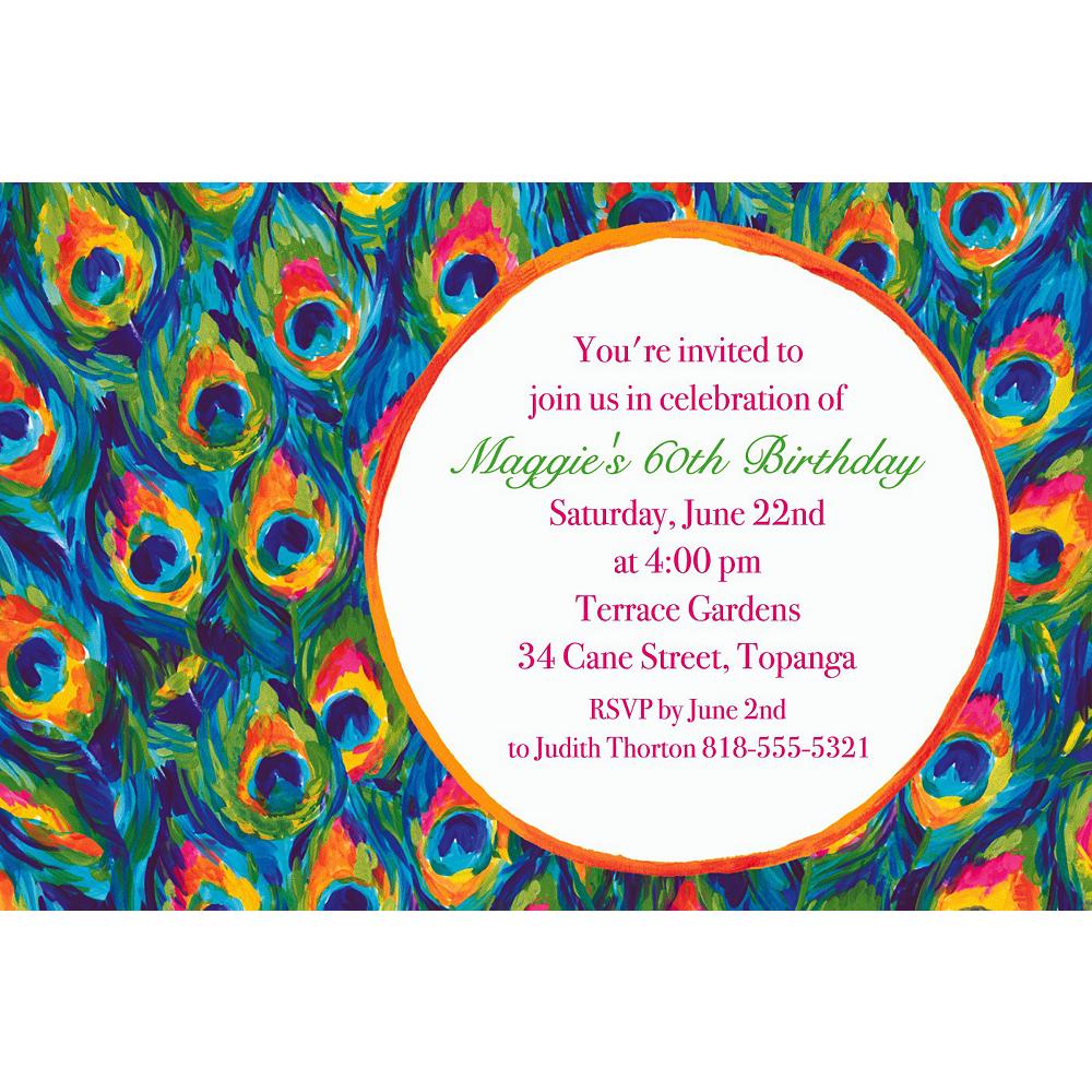 Custom Color Peacock Invitations Image #1