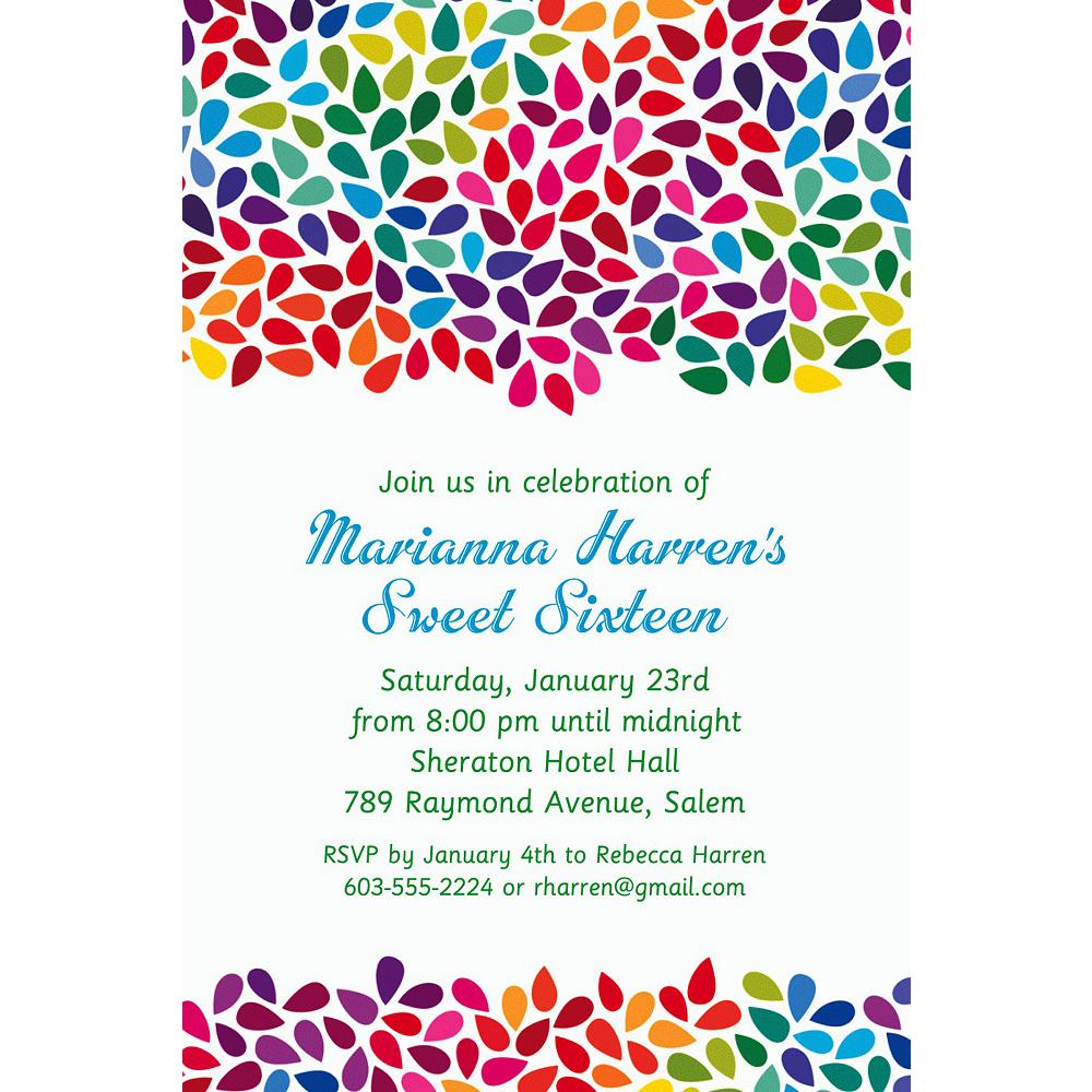Custom Rainbow Droplets Invitations Image #1