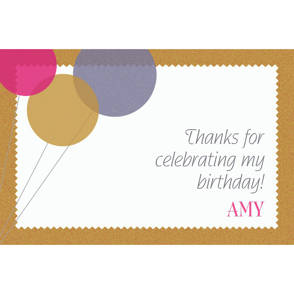 Custom Champagne Balloons Thank You Notes Image #1