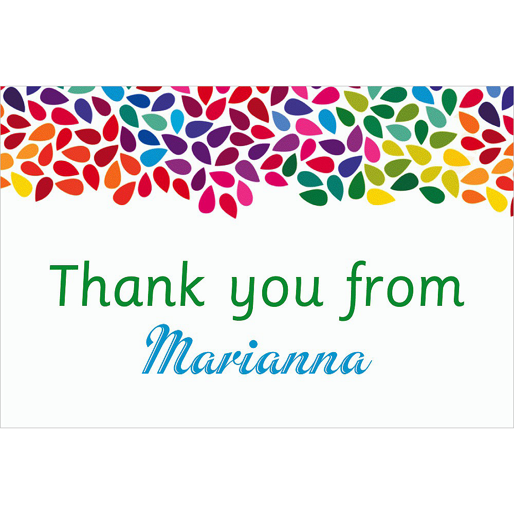 Custom Rainbow Droplets Thank You Notes Image #1