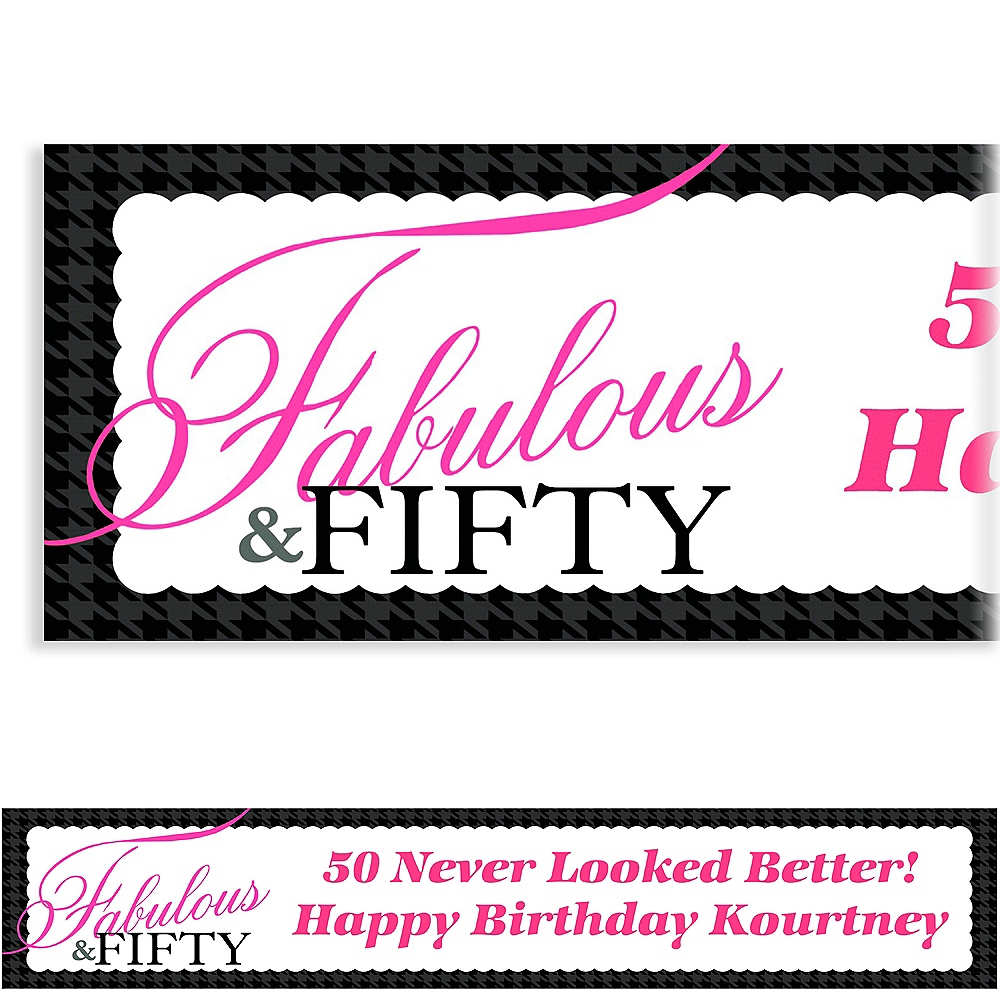Custom Fabulous Fifty Banner 6ft Party City